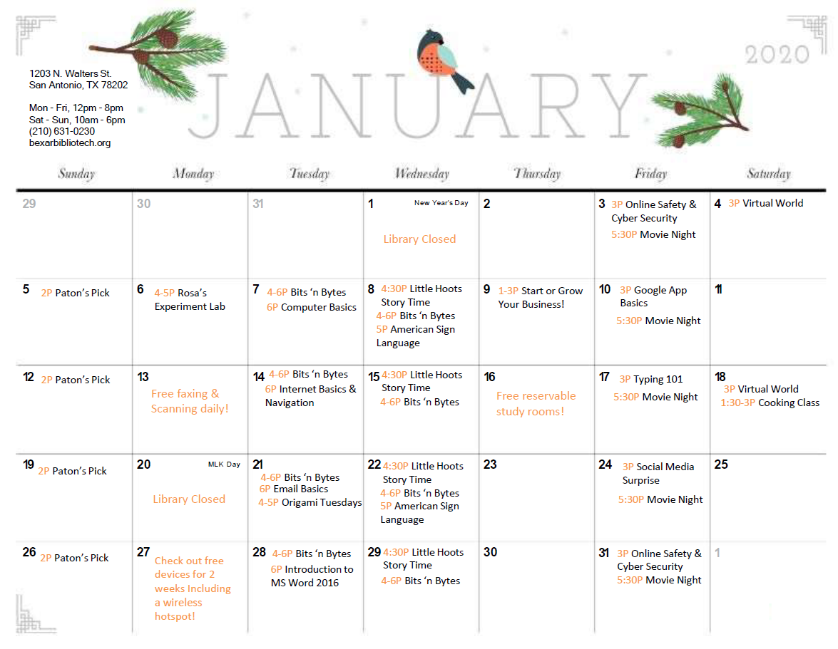 East January Programming Calendar