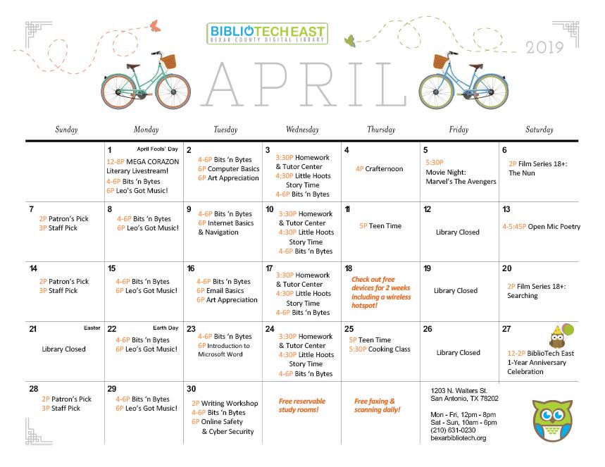 BiblioTech East April Calendar of Events