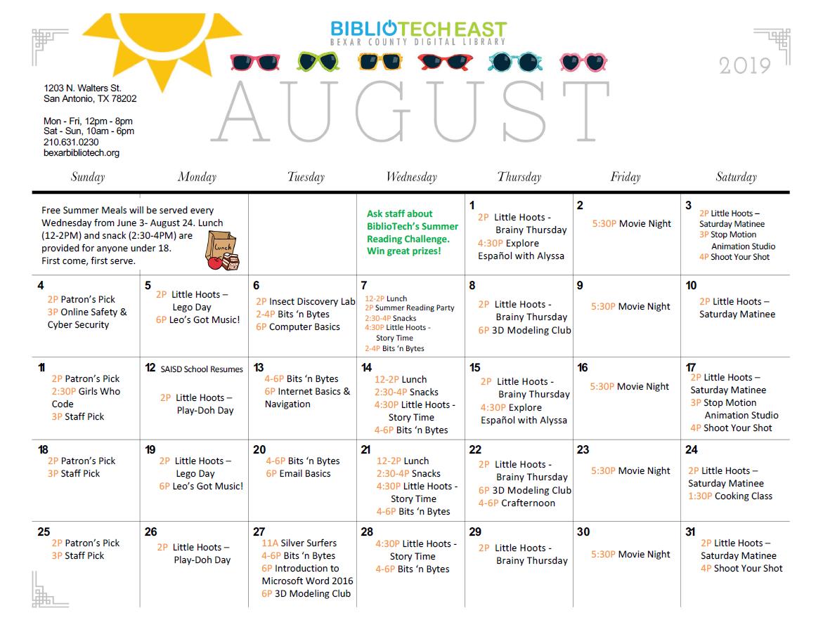 BiblioTech East August 2019 Calendar