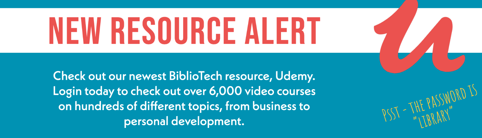 New resource alert: login now to check out over 6000 new video courses on udemy. Password is library.
