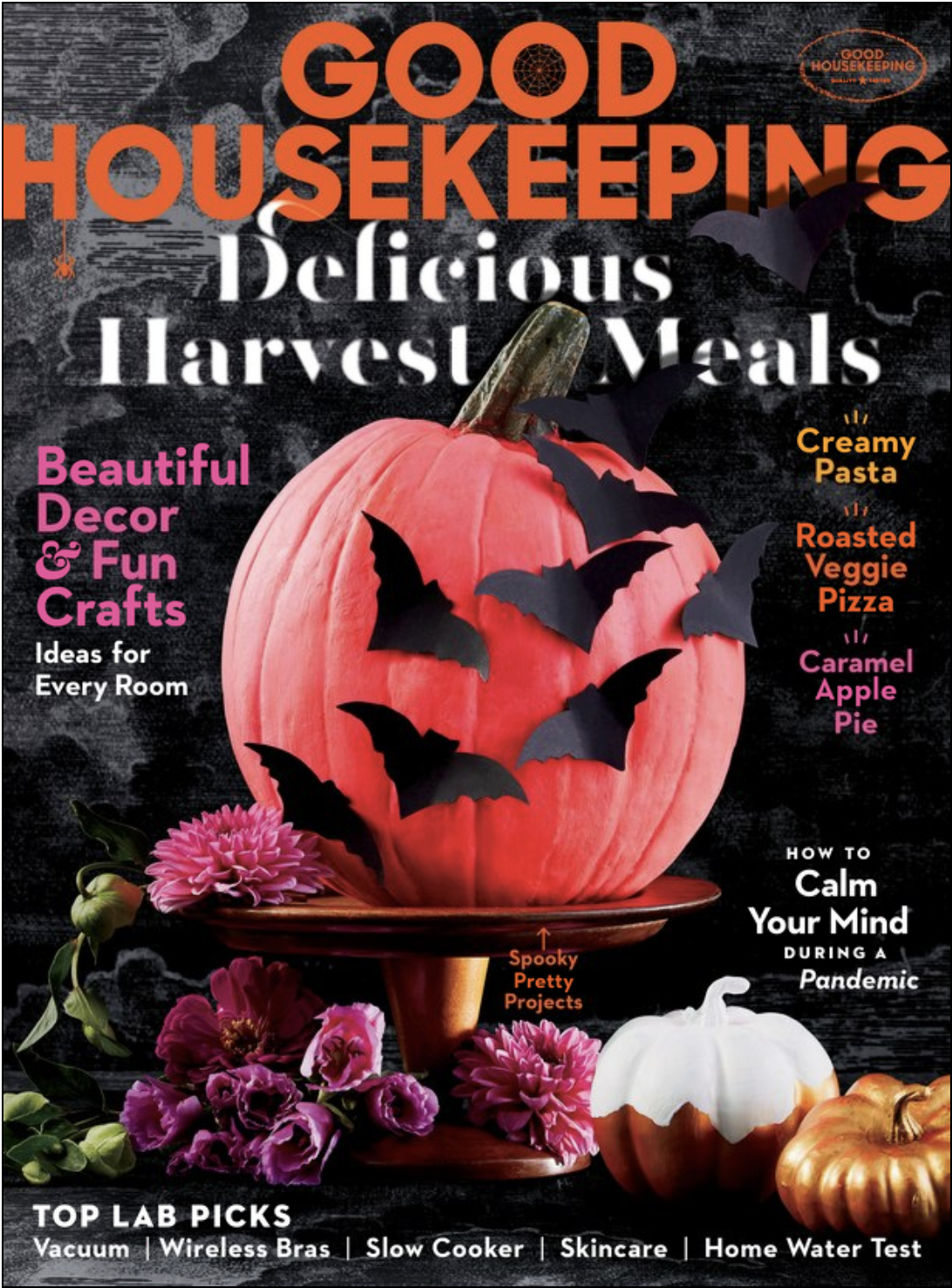 Cover of Good Housekeeping October 2020 with a Jack-o-Lantern