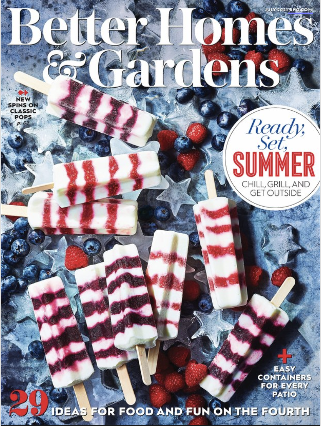 Better Homes and Gardens magazine cover with Fourth of July popsicles