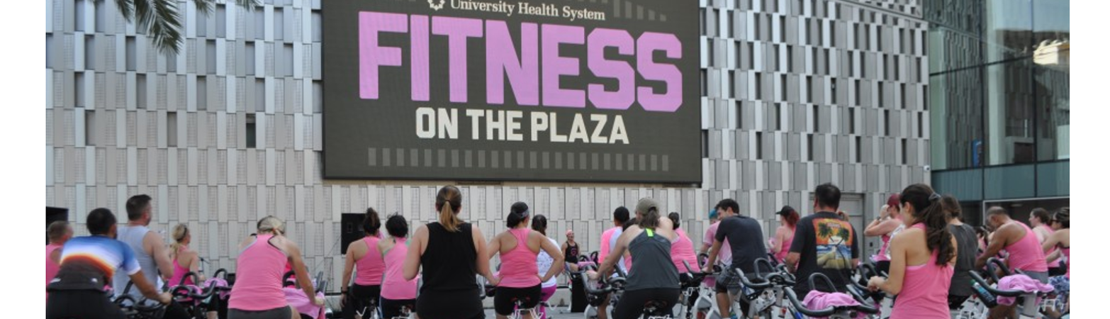 Fitness in the Plaza on stationary bikes