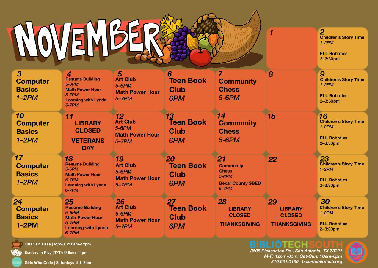 BiblioTech South November 2019 Programming Calendar
