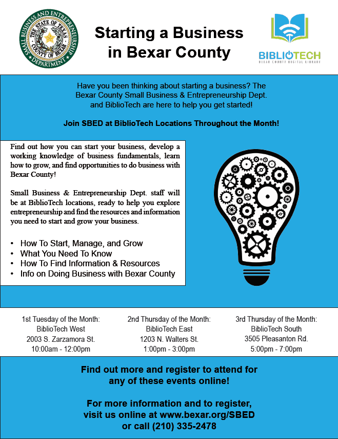 Small Business Workshops to be held at BiblioTech locations